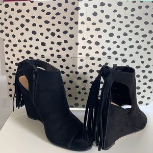 Black Suede Wedge Fringe Heel Express Shoes